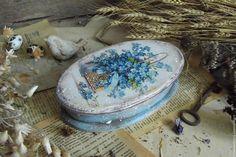 """Купить """"Melody flowers"""" Деревянная шкатулка - голубой, прованс, кантри, винтаж, Короб деревянный"""