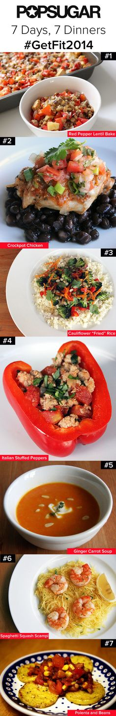 A weeklong menu of healthy and delicious dinners! Tiff-these actually look really good!