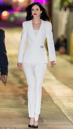 Beaming: The American beauty is no stranger to the limelight and appeared to relish having all eyes on her Hottest Brunette, Hot Brunette, Krysten Alyce Ritter, Best Celebrity Dresses, American Gods, White Suits, Jessica Jones, Celebrities Fashion, Office Looks