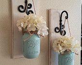Set of 2,Mason Jar Wall Decor,Country Chic Wall Decor,Hanging Mason Jar Sconce,Mason Jar Decor,MasonJar Wall Sconce,Housewarming Gift,Rustic