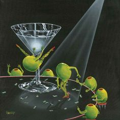 """Absolutely adore this painting. Will have it in my kitchen one day. """"Even dirtier martini"""" -- Michael Goddard Godard Art, Art Gallery, Art Prints, Poster Prints, Pictures, Image, Drinks, Cocktails, Photos"""