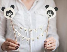 Panda Birthday Cake, First Birthday Cakes, Birthday Cake Toppers, Diy Birthday, 1st Birthday Parties, Happy Birthday, Panda Party, Panda Themed Party, Personalized Cake Toppers