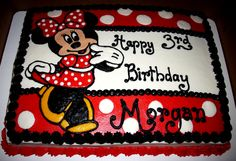 Minnie Mouse sheet cake...all buttercream icing and decorations  #Minnie Mouse  # sheet cakes