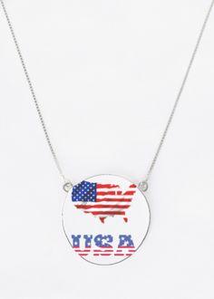 Oversized Round Pendant - United States Of America in Blue/Purple/Red by VIDA Original Artist Vida Design, Round Pendant, Oil On Canvas, Purple, Blue, Street Art, Mixed Media, Original Art, United States