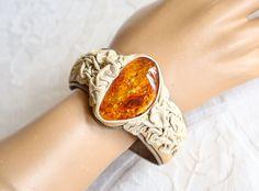 Handmade Leather Amber Bracelet | Vintage Hand Tooled Leather Cuff Bracelet