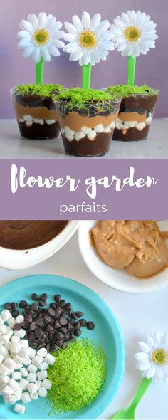 Inspired by the garden. Flower Garden Parfaits make a sweet treat the kids will love making and eating.