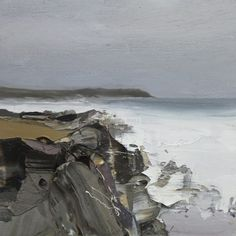 Chris Bushe RSW Autumn tide, Saligo Bay oil on board x ins x 37 cms) Seascape Paintings, Landscape Paintings, Texture Painting, Abstract Landscape, Painting Inspiration, New Art, Palette Knife, Artist Painting, Winter Christmas