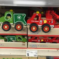 """kmart_kidz #kmartkidz on Instagram: """" Spotted!  My last great find from my little weekly pilgrimage to @kmartaus are these fab rubber-wheelers wooden fire trucks and garbage trucks for just $5 - they would make a great gift  #kmartkidz #kmartau #kmartaus #kmartaustralia #kmartkids"""""""