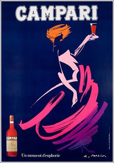 Vintage 1983 Bitter Campari Advertisement by Carrier Alain Art Print by JA(c)anpaul Ferro - X-Small Vintage Italian Posters, Pub Vintage, Vintage Advertising Posters, Vintage Labels, Vintage Advertisements, Retro Poster, Poster Ads, Poster Vintage, Kunst Poster