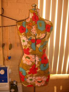 Dress Form covered with vintage fabric