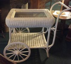 Vintage White Wicker Tea Beverage Dessert Cart With Removable Tray 1920's