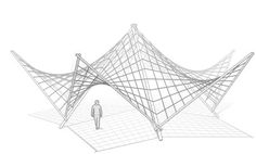 Ropes and Poles: Hypar pavilion - inspired by Felix Candela Parametric Architecture, Bamboo Architecture, Chinese Architecture, Architecture Office, Concept Architecture, Futuristic Architecture, Architecture Design, Office Buildings, Hyperbolic Paraboloid