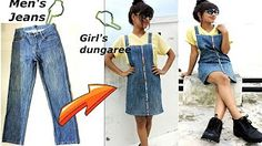 Diy convert reuse old men s jeans into girls dungaree dress dungaree skirt Diy Old Jeans, Recycle Jeans, Men's Jeans, Old Man Jeans, Diy With Jeans, Jeans Rock, Jeans Refashion, Diy Clothes Refashion, Refashion Dress