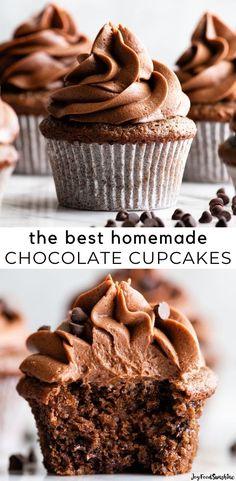 Perfect Cupcake Recipe, Easy Chocolate Cupcake Recipe, Homemade Cupcake Recipes, Cupcake Recipes From Scratch, Best Chocolate Cupcakes, Chocolate Candy Recipes, Fun Baking Recipes, Chocolate Flavors, Chocolate Cupcakes From Scratch