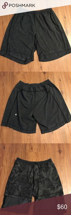 Lululemon Pacebreaker shorts size L lulu lemon shorts with built in boxer brief. size large. always air dried. no tag. previously worn but no flaws briefs have a cool Hawaiian print lululemon athletica Shorts Athletic