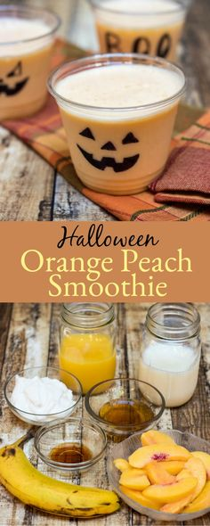 This Halloween Orange Peach Smoothie is a fun fruit smoothie made with orange juice frozen peaches and a boost of protein from the yogurt. Decorating the cups is fun also which makes this great choice for Halloween drinks for kids too! Orange Smoothie, Orange Juice, Fruit Smoothies, Smoothie Recipes, Juice Recipes, Halloween Drinks Kids, Halloween Finger Foods, Halloween Ideas, Fall Recipes