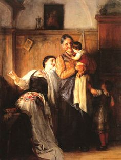 """ Peek - a - boo"" by Nicolaos Gyzis, 19th century. Why this painting is on a "" Greek Traditions"" board?? Because our families are our greatest, oldest and most valuable tradition. And this is a lovely family painting"