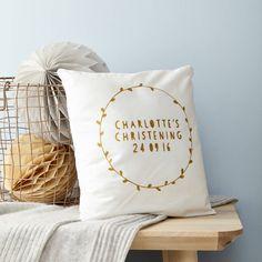 Personalised Glitter Wreath Christening Cushion