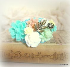 Mint Green Bracelet Cuff Floral Bangle Bridal Bridesmaid Flower Bouquet Turquoise Peach Beige White Spring Fall Secret Garden Soft Misty