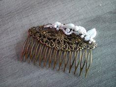 """*~.Peigne """"Eclat"""" .~*blanc, bronze, nacré, fin, blanc, ivoire, mariage, mariée : Accessoires coiffure par l-colora"""
