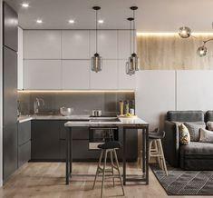 Trendy home bar modern design stools Kitchen Room Design, Home Room Design, Living Room Kitchen, Home Decor Kitchen, Interior Design Kitchen, House Design, Kitchen Furniture, Small Apartment Layout, Small Apartment Interior