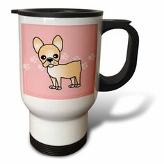 3dRose Cute Cream French Bulldog Pink with Pawprints, Travel Mug, 14oz, Stainless Steel