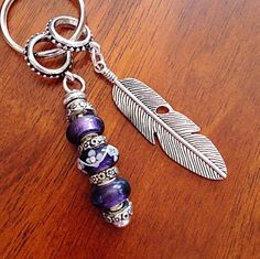 Christian Keychain, Keychain, Feather Keychain, Pancreatic, Cancer Awareness Keychain, Purple Murano Bead Keychain, Angel Pendant by DorysBoutique on Etsy