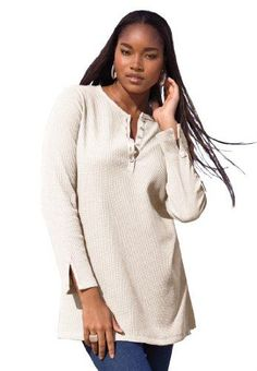 women's tunic length henley sweater | Roamans Plus Size Thermal Henley Tunic $14.99 (64% OFF)