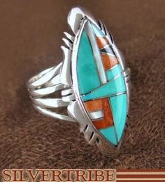 Turquoise Multicolor Inlay And Sterling Silver Jewelry Ring Size 9-1/2 RS41137