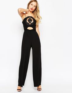Image 1 of ASOS Organza Trim Front Jumpsuit With Tassel Back