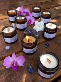 Natural Candles with Healing Intentions by Lather and Light Co. Vegan Candles, Soy Candles, Candle Jars, Essential Oil Candles, Essential Oils, Amber Glass Jars, Natural Candles, Aromatherapy Candles, Candle Making