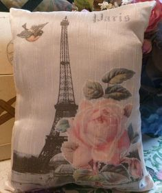 Perfect Valentine Gift ..EIFFEL TOWER PILLOW withROSES/BIRDS FROM VINTAGE PRINTS BY MYSELF only $15