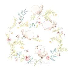 Ilustración orla de flores y pajaros