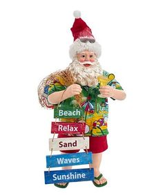 This Red & Blue Beach Santa Fabriché Figurine is perfect! #zulilyfinds Beach Relax, Text Signs, Tropical Christmas, Blue Beach, Light Skin, Skin Tone, All Things Christmas, Mantle, Red And Blue
