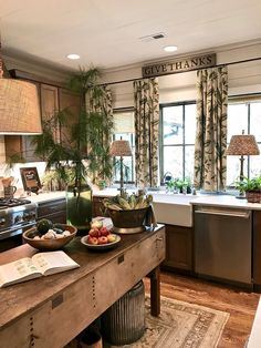 Put a lamp in the kitchen. 3 Ways to Love Your Home Again: Before & After - Maria Killam Cozy Kitchen, Kitchen Redo, Rustic Kitchen, Country Kitchen, New Kitchen, Kitchen Dining, Kitchen Remodel, Kitchen Ideas, Armoire In Kitchen