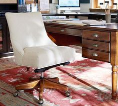Sat in this chair today and it felt like heaven! [s] Hayes Non-Tufted Swivel Desk Chair #potterybarn