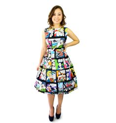 Comic Pleated Dress by VintageGaleria on Etsy