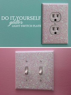 Best DIY Room Decor Ideas for Teens and Teenagers - Glitter Light Switch Plates - Best Cool Crafts, Bedroom Accessories, Lighting, Wall Art, Creative Arts and Crafts Projects, Rugs, Pillows, Curtains, Lamps and Lights - Easy and Cheap Do It Yourself Ideas for Teen Bedrooms and Play Rooms http://diyprojectsforteens.com/diy-room-decor-ideas-teens