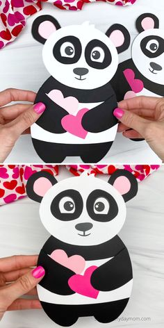 This panda valentine craft is an cute and easy activity to make with the kids for Valentine's Day! Download the free template and make it at home or at school. Kids Crafts, Zoo Crafts, Easy Arts And Crafts, Valentine Crafts For Kids, Valentines Day Activities, Valentine Decorations, Panda For Kids, Art For Kids, Paper Flowers Craft