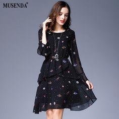 Best Deals $17.38, Buy MUSENDA Plus Size Women Black Star Print Chiffon Lining Tunic Ruffles Short Dress 2017 Autumn Female Party Dresses Vestido Robe