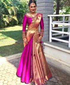 23 Elegant Saree Lehenga Designs For The South Indian Brides! Lehenga Saree Design, Half Saree Lehenga, Saree Look, Lehenga Designs, Anarkali, Ghagra Saree, Indowestern Saree, Saree Wearing Styles, Saree Styles