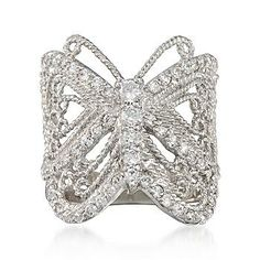 Get noticed with this fancy-free CZ butterfly ring. Features beautiful filigree detailing. >>Click on the Butterfly Ring to shop the Ross-Simons collection.