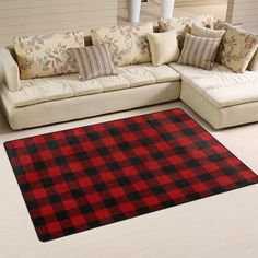 Yochoice Non-slip Area Rugs Home Decor, Vintage Retro Grunge Tartan Red Black Plaid Floor Mat Living Room Bedroom Carpets Doormats 60 x 39 inches ** Read more reviews of the product by visiting the link on the image. (This is an affiliate link and I receive a commission for the sales) #retrohomedecor