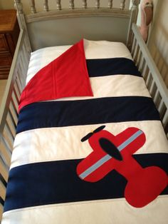 3 Piece Navy and White w/ Red Airplane Applique by shilohmae, $170.00