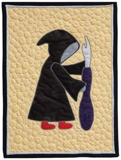 Grim Ripper whimsical mini Halloween quilt, Quilt by Terry Chilko Halloween Quilts, Halloween Sewing, Halloween Crafts, Holiday Crafts, Halloween Ideas, Quilting Tips, Quilting Projects, Quilting Designs, Sewing Projects