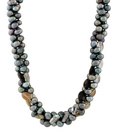 Loving this Triple Row Black Stone Necklace on #zulily! #zulilyfinds
