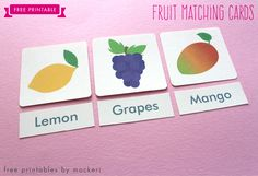 Free Printable: Fruit Flash Cards and Matching Cards