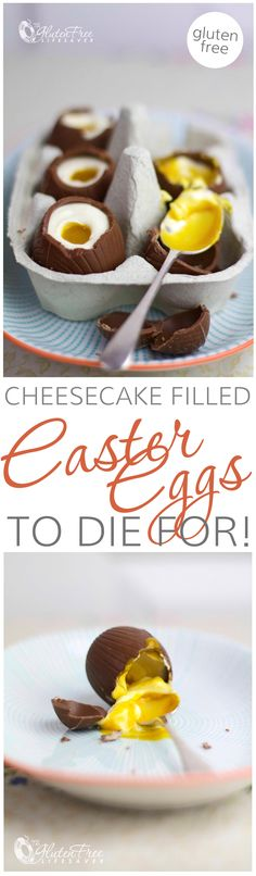Gorgeous Cheesecake Filled Chocolate Easter Eggs that are better than Cadbury Cream Eggs, Gluten-Free and Super Easy to Make! #easter #chocolate #glutenfree #celiac #coeliac