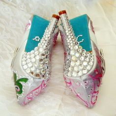 Wedding Shoes silver tiffany blue soles clover by norakaren, $305.00