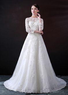 Charming Tulle Bateau Neckline A-line Wedding Dress With Lace Appliques